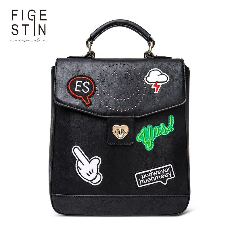 FIGESTIN Women s Backpacks Fashion PU Black Street Style Cool Punk Backpack for Teenager Girls School