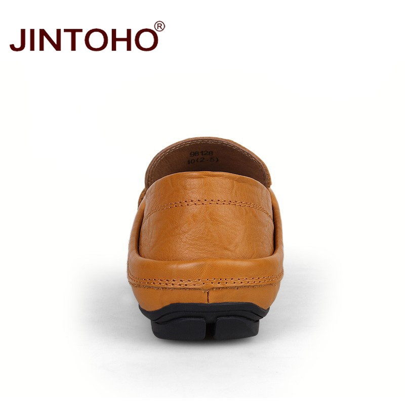 JINTOHO big size 35-47 slip on casual men loafers spring and autumn mens moccasins shoes genuine leather men's flats shoes 5