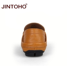 JINTOHO big size 35-47 slip on casual men loafers spring and autumn mens moccasins shoes genuine leather men's flats shoes