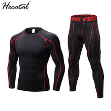 2018 Brand New Men Shirt Fitness Sportswear Suit Male Running Training Tights gym Sport Suit Quick Dry Compression Running Set yd new compression tight basket soccer tracksuit men training fitness long sleeve shirt pants male gym running set sport suit