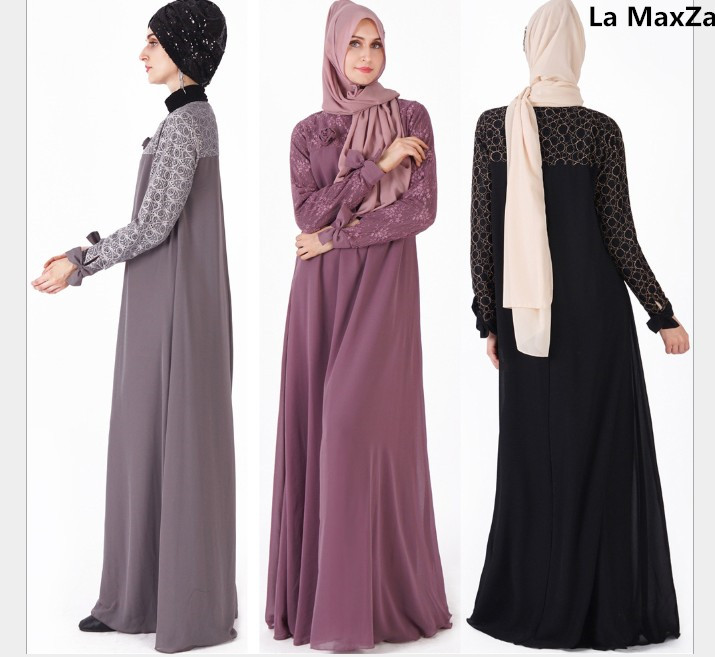 Robe mousseline de soie dentelle musulmane ramadan caftan noir gris abaya caftan marocain robe musulmane longue tesettur elbise robes islamiques