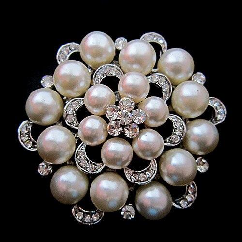 Серебряный тон искусственный жемчуг и горный хрусталь с бриллиантами, кристалами для свадьбы брошь с букетом - Окраска металла: Silver Cream