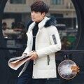 Envío Libre 2015 Mens Chaquetas de Invierno hombres Parka capucha de Piel de Los Hombres Abrigo de Invierno Casual & Fit Grueso Hombre Abajo chaqueta