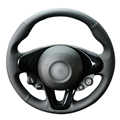 Tampa Da Roda de Direcção Do Carro de Couro Artificial preto para Novo Smart Fortwo Forfour 2015-2017