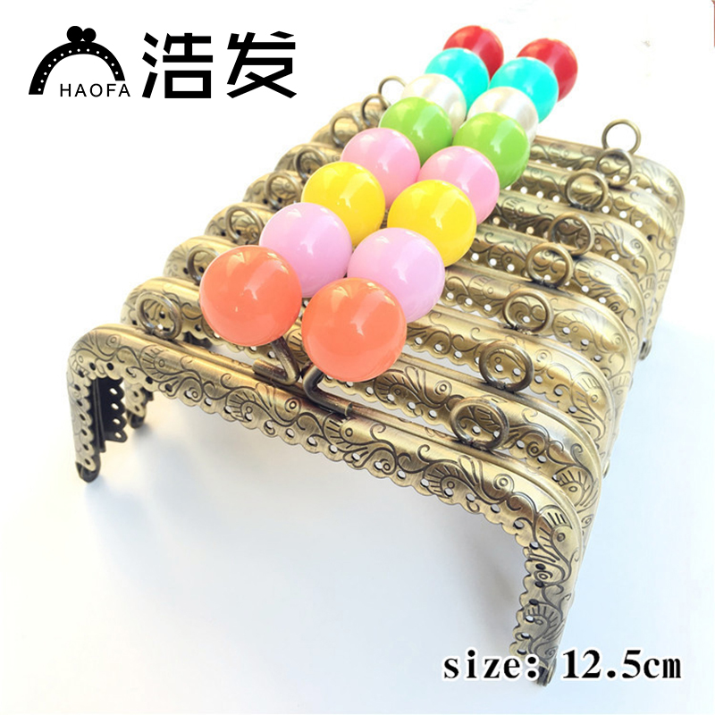 12.5cm 10pcs Square Sewing Metal Purse Frame With Center Candy Kiss Clasp Patchwork Bag Handle Making Cclutch Bag Frame