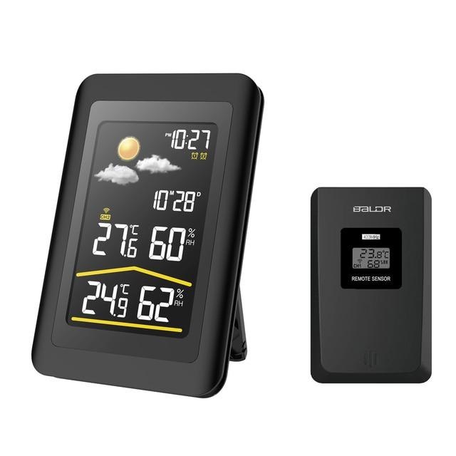 Baldr Wireless Weather Station Thermometer Digital Hygrometer Temperature Sensor Alarm Clock Snooze Forecast  US PLUG