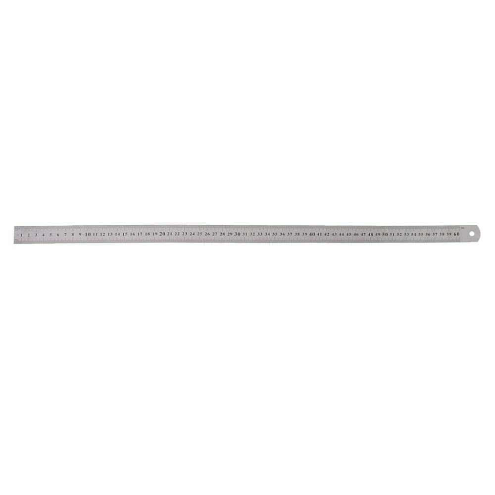 Stainless Steel Double Side Measuring Straight Edge Ruler 60cm Silver double side scale stainless steel straight ruler measuring tool 50cm