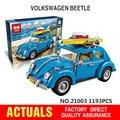 Лепин техника 21003 Создатель Серии Городской Автомобиль Volkswagen Beetle модель Строительные Блоки Совместимы Blue Техники Автомобиль Игрушки legoe 10252