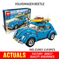 lepin technic 21003 Creator Series City Car Volkswagen Beetle model Building Blocks Compatible  Blue Technic Car Toy legoe 10252