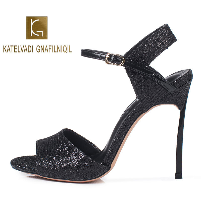 KATELVADI New INS Sexy Women Sandals Sequined Cloth Summer Large Size 34-41 Party Night Shoes For Woman 10CM K-378