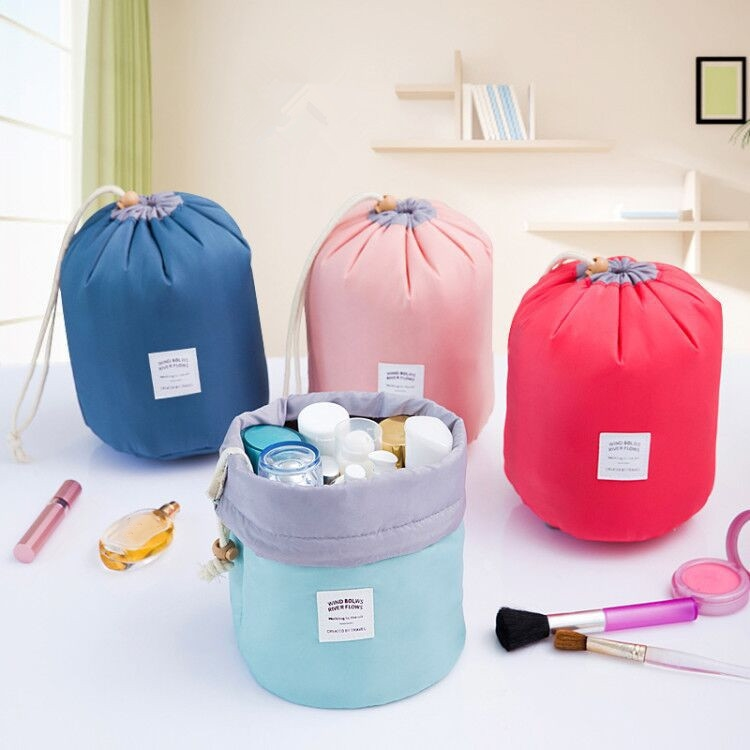 Travel Cosmetic Bag Women New Arrival Barrel Shaped Toiletry Kit Make Up Makeup Case Organizer Pouch Big Capacity Drawstring new fashion women mini cosmetic bag organizer women toiletry bag makeup bag bolsa de cosmeticos acb597a