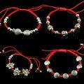 Древние серебряные браслеты для женщин красная строка браслеты браслеты плетеный браслет регулируемый multistyle vintage bijoux женщины 0549