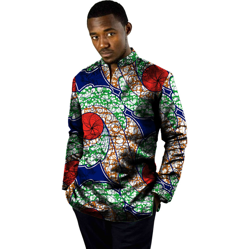 Long-sleeved Blouse For Men Casual Design African Traditional Dashiki Shirt Retro Pattern Male Africa clothing Customized
