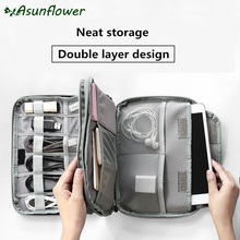 Asunflower Portable Travel Digital Cable Bag USB Wire Gadget Organizer Storage Pouch Case For Macbook Electronic Accessories