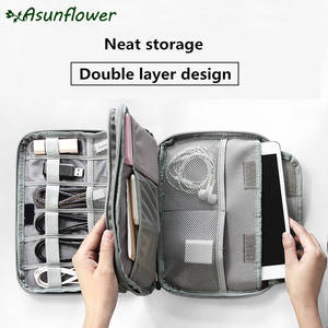 Asunflower Portable Travel Digital Cable Bag USB Wire Gadget Organizer Storage Pouch Case For Macbook Electronic Accessories Bag