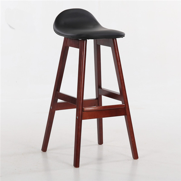 Vintage Wooden Bar Kitchen Counter Stool With Leather Seat