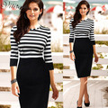 2016 New Arrival Women Striped Patchwork Half Sleeve O-neck Wear To Work Knee-Length Stretchy Pencil Casual Dresses