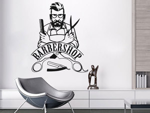 Image 1 - Wand Aufkleber Barber Shop Zeichen Wand Aufkleber Abnehmbare Hipster Vinyl Aufkleber Schönheit Salon Fenster Aufkleber Barbershop Decor MF38
