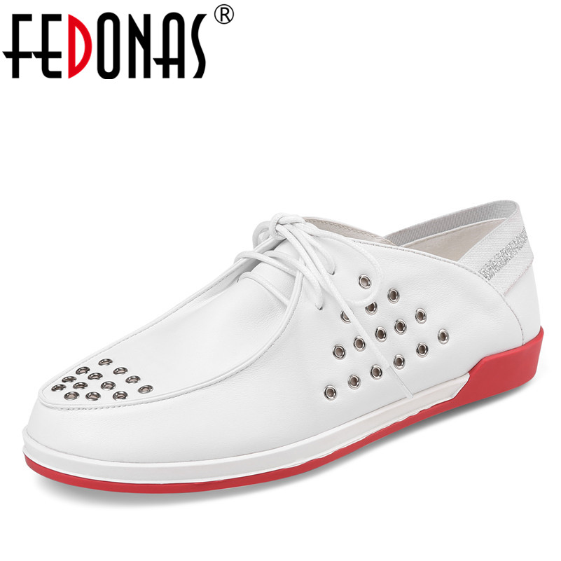 FEDONAS 2018 New Genuine Leather Women Shoes Casual Lace Up Flats Heels Loafers Shoes Woman Comfort Flats Zapatos Mujer fedonas 2018 new women genuine leather casual shoes low heels comfortable lace up loafers brand design spring shoes woman