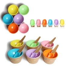Dessert-Bowl Tableware Ice-Cream-Tools Plastic Children Spoon DIY Gifts 1set Kids Lovely