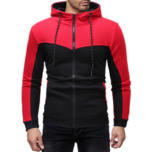 2018 new spring hooded zipper sweatshirt slim fit fashion hoodie men patchwork mens long