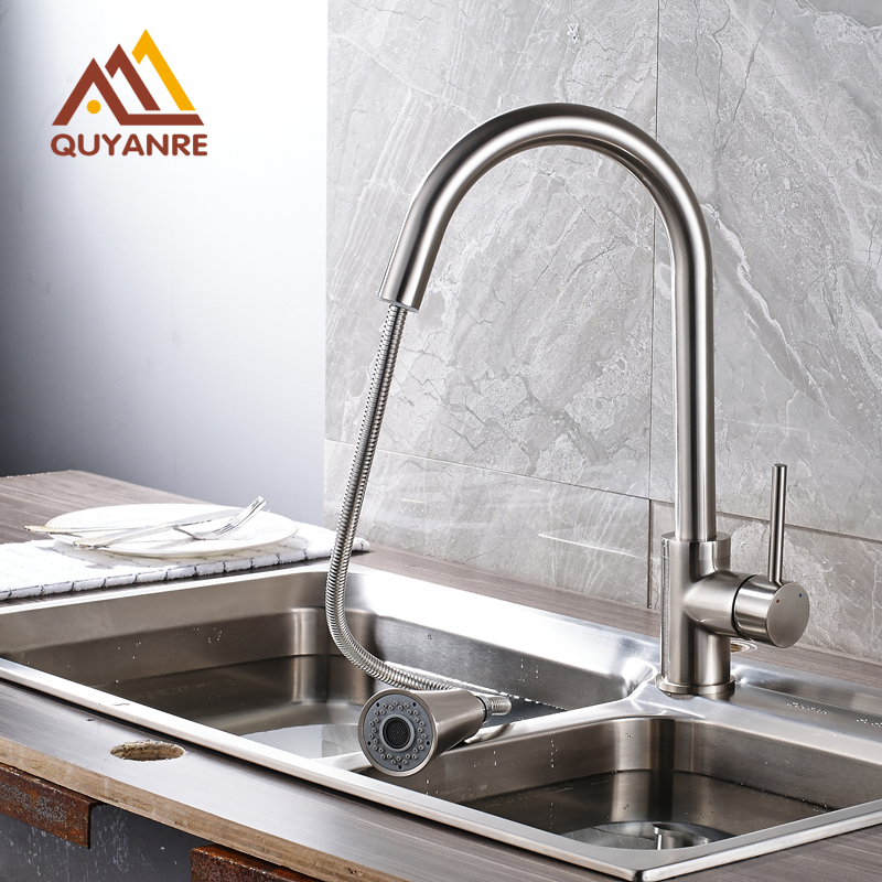 Brushed Nickle Kitchen Faucet Single Hole Deck Mounted Pull Out Sprayer Kitchen Sink Mixer Taps luxury pull out chrome brushed nickel finish kitchen faucet mixer single hole deck mounted
