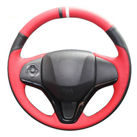 leather hand Top Leather Steering Wheel Hand-stitch on Wrap Cover For Honda Fit City Jazz 2014-2015 Vezel 2015-2017 HR-V 2016 (2)