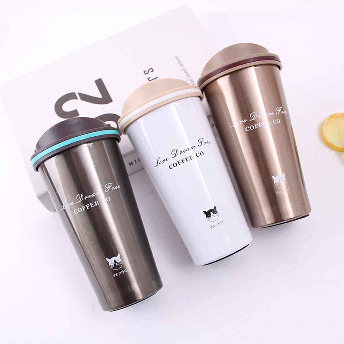 Drinkware Thermoses Travel Coffee Mug Stainless Steel Thermos Vacuum Flask Thermo Water Bottle Tea Mug Thermocup Tumbler Cups
