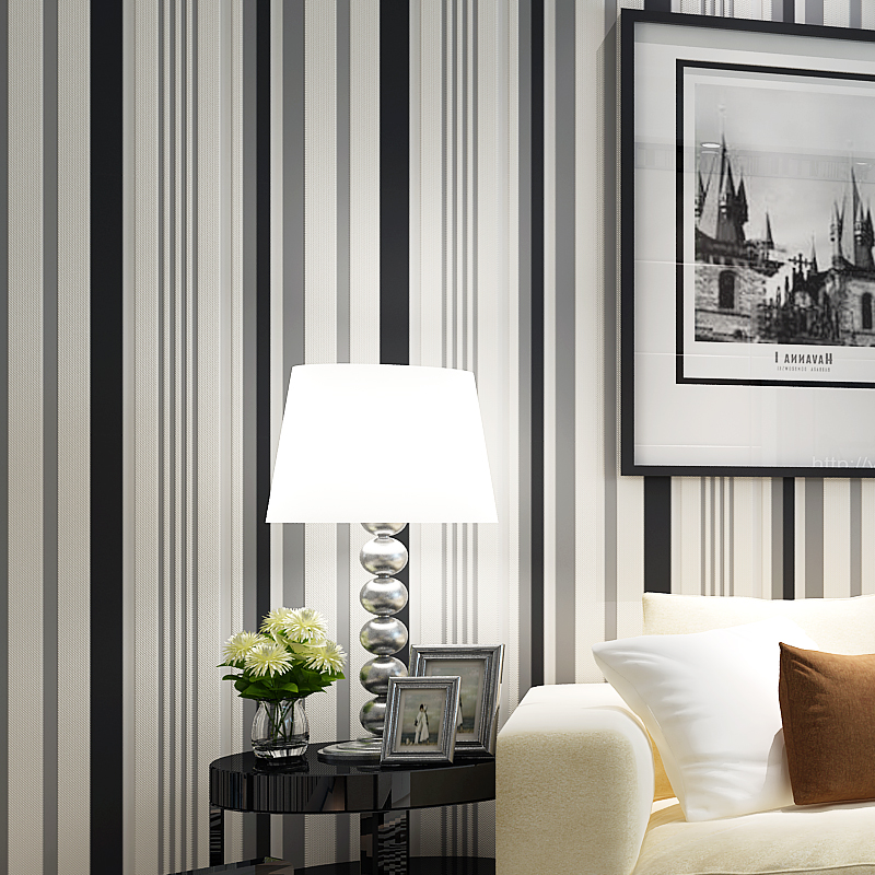 Modern Black And White Vertical Stripe Wallpaper Roll Non Woven Wall Paper Stripped For Walls Bedroom Strip Yellow In Wallpapers From Home
