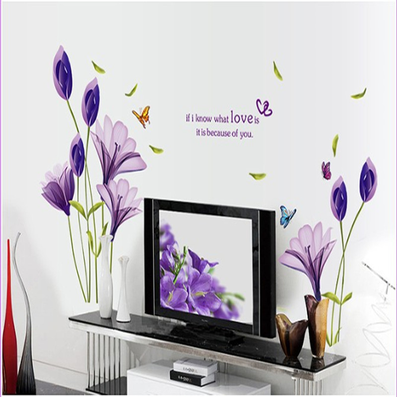 Purple Romantic Big Flower Wall Stickers Home Decor: Home Supplies Romantic Purple Lily Flower Removable