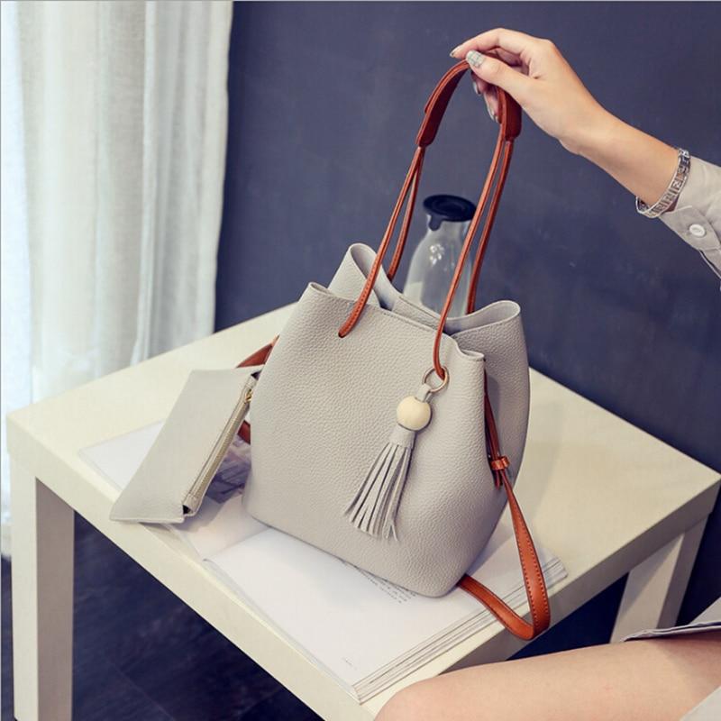 4432f03c7986 Сумки Для женщин сумки кисточка ведро сумка Новая мода Crossbody Сумка Кожа  PU плеча композитный мешок
