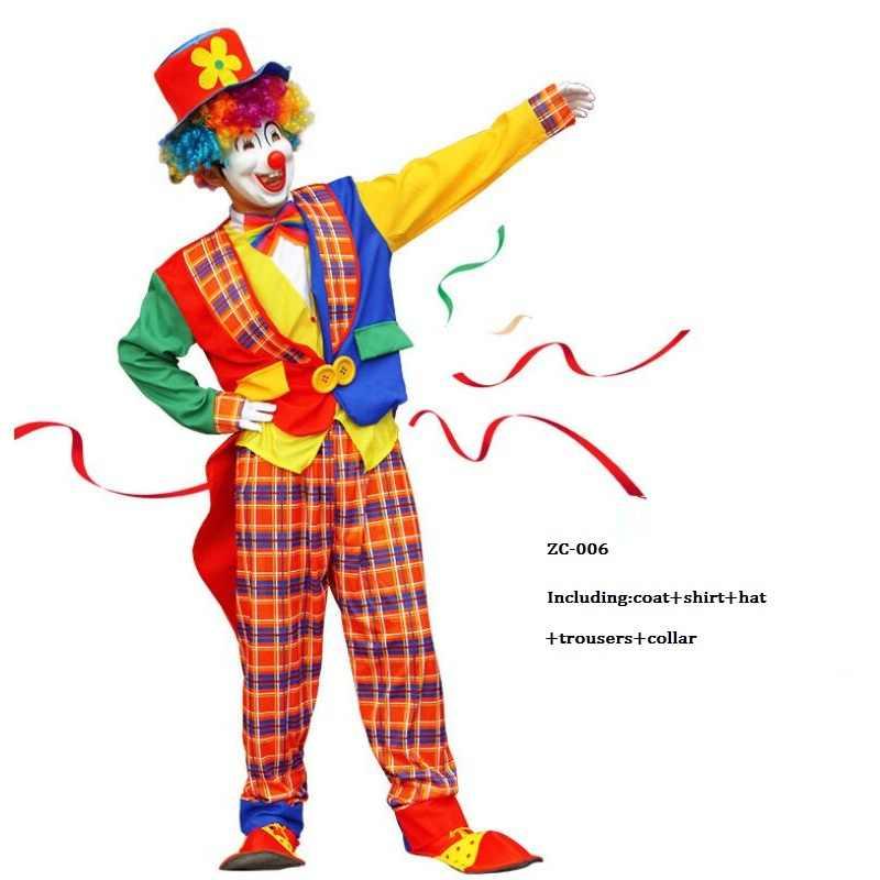 Новый стиль праздник разнообразие Смешной клоун Cospaly Костюм Человек Взрослый клоун пальто и комбинезон вечерние платья джокер костюм без реквизит