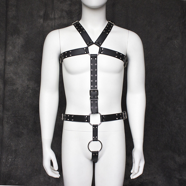 SORRYNAM Brand Men Sexy Punk Faux Leather Adjustable Body Chest Harness Body  Bondage Chest Leather Suspenders