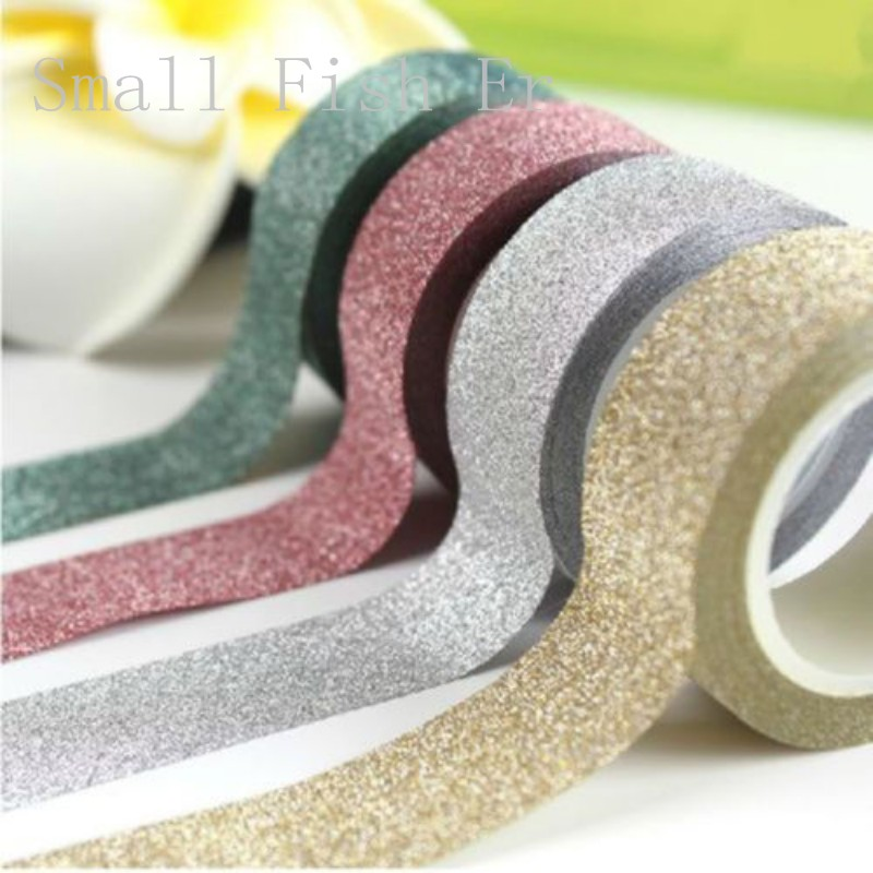 2pcs Colorful Scrapbooking Craft Glitter Tape Book Cellphone Decor DIY Stationery Adhesive Paper Sticker Office School Supplies