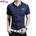 HCXY 2016 New summer mens shirts point Slim Fit Men Short Sleeve Shirt Men dress Cotton business Casual Men Shirt Social 5XL
