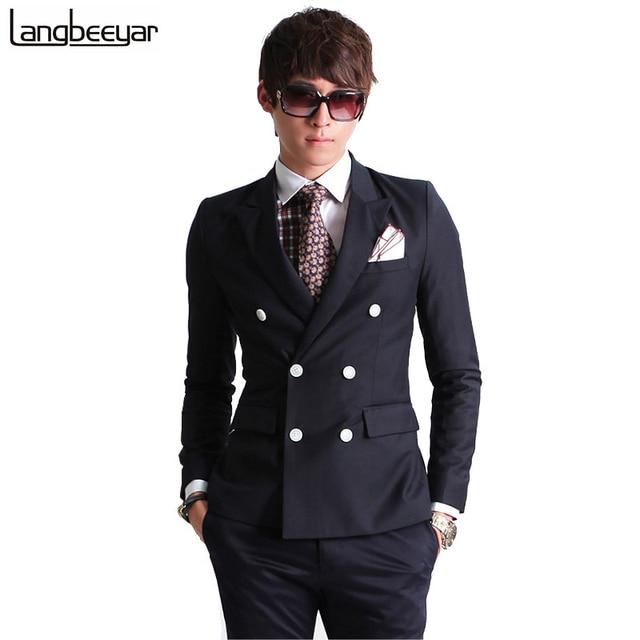 2017 New Fashion Brand Men Blazer Men Double-breasted Suit Set Casual High-quality Slim Fit Suits Groom Wedding Dress Men Suit