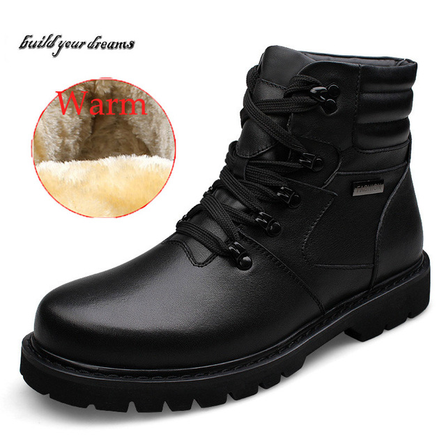 Handmade Genuine leather men martin boots Rabbit fur plus size full grain leather Super warm men winter shoes for Russian