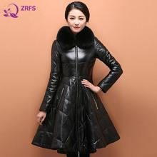 With 2016 Autumn and Winter Dress Skirt PU Sheep Skin Collars Long Leather Coat Down Jacket Coat of Cultivate One's Morality
