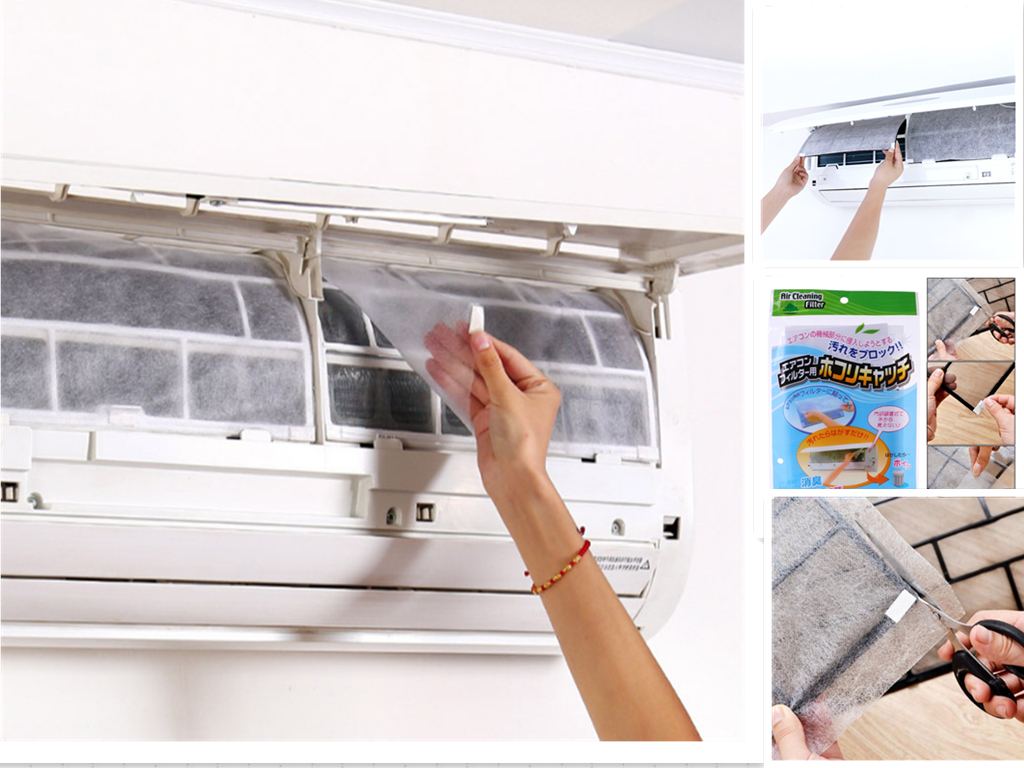 2PCS Air Conditioning Filter Papers Dustproof Anti-dust Net Cover Household Air Conditioner Purifying Filter Paper Self-adhesion