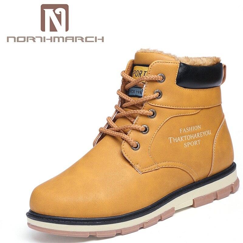 7351b126c8a889 Chaussures Hombre Northmarch Fur D'hiver En Fur yellow Black Cuir Chaud  brown blue Imperméables Casual ...
