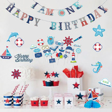 Ahoy Boy Nautical Sailboat Birthday Party Cupcake Topper Photo Props Happy Banner Baby Shower 1st Decor