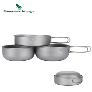 Boundless Voyage Outdoor Ultralight Titanium Bowl Pan Plate Dish Set 3pcs Camping Picnic Tableware Cookware keith 550ml titanium bowl ultralight camping travel tableware single wall and double wall pure titanium bowls for choose