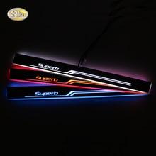 LED door sill for Skoda Superb 2016 Led moving lights scuff plate Car light decoration ,2pcs/lot