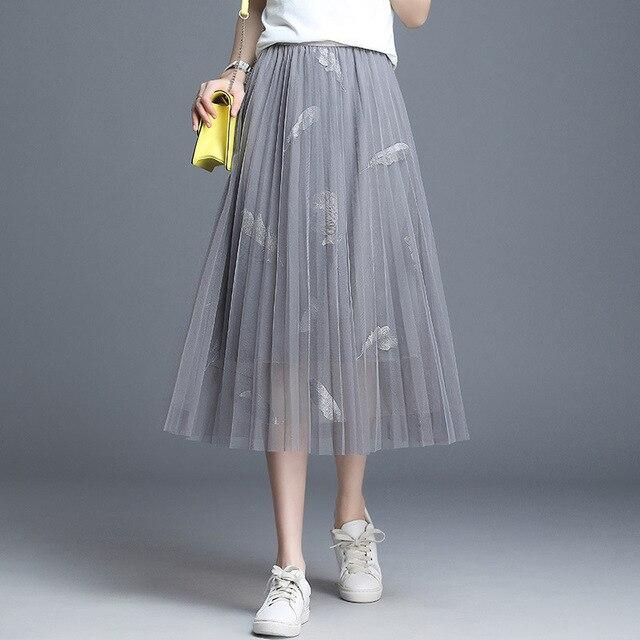 2b8c6bec2f0646 #1621 Tulle jupes femmes plume Patchwork taille haute une ligne jupe dames  Midi maille noir rose bureau Double couche