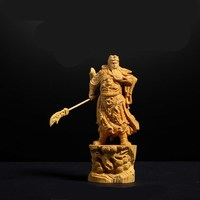 10cm 12cm Boxwood Carving Statues Fortuna Guan Gong Ornaments Wood Crafts Home Office Buddhist Decorations