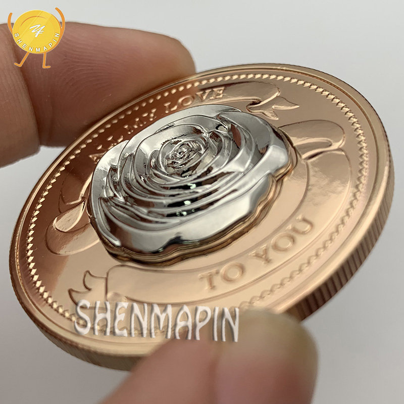 All My Love To YouPropose Marriage or Memorial Commemorative Gift Double-sided Dimensional Relief Rose Coins