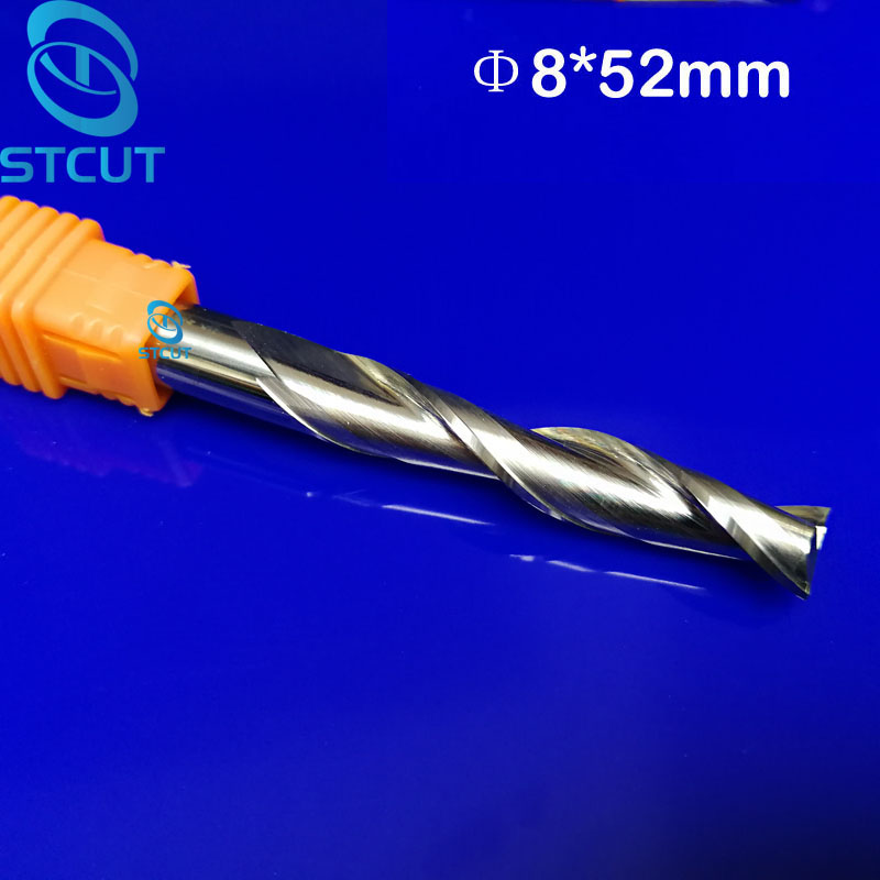 цена на 2pcs 8*52mm Carbide CNC Milling Cutters Tools 2 Double Two Flute Spiral Bit Router End Mill CED 8mm CEL 52mm