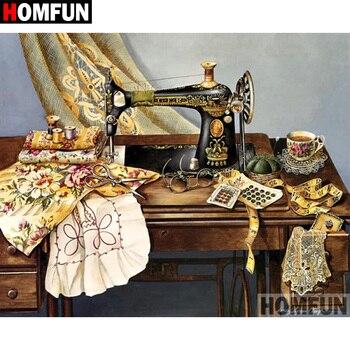 """HOMFUN 5D DIY pintura de diamante completo taladro cuadrado/redondo """"máquina de coser"""" 3D bordado regalo de punto de Cruz decoración del hogar A02180"""