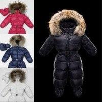 Зимние для маленьких мальчиков зимний комбинезон для детей возрастом до 2 лет вниз с капюшоном черный для маленьких девочек зимний теплый к