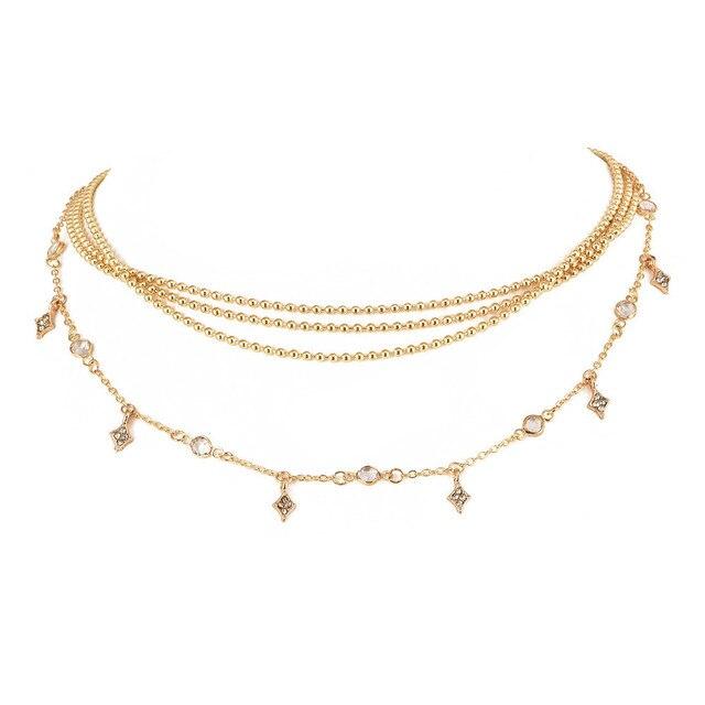 Sohot nova maré feminina contas multicamadas colares romântico vendedor quente minúsculo pingente de cristal jóias acessórios para o presente de natal